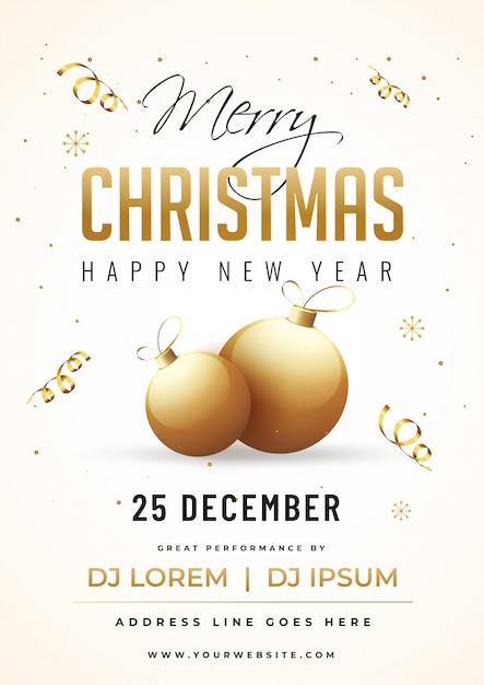 Tarjeta De Invitación De Fiesta De Feliz Navidad Y Feliz Año