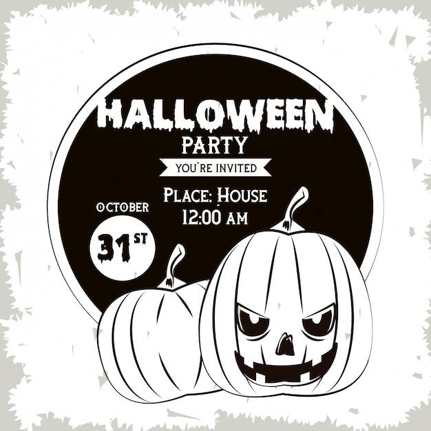 Tarjeta De Invitación Fiesta De Halloween En Blanco Y Negro