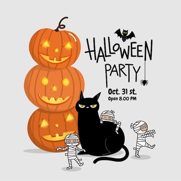 Tarjeta De Invitación De Fiesta De Halloween Feliz Con Momia