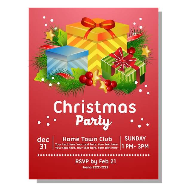 Tarjeta De Invitación De La Fiesta De Navidad Con Caja De