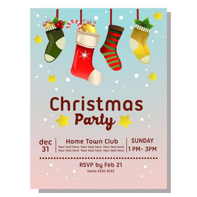 Tarjeta De Invitación Fiesta De Navidad Con Calcetines