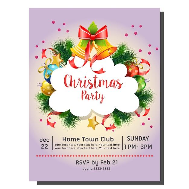 Tarjeta De Invitación Fiesta De Navidad Con Campana Y