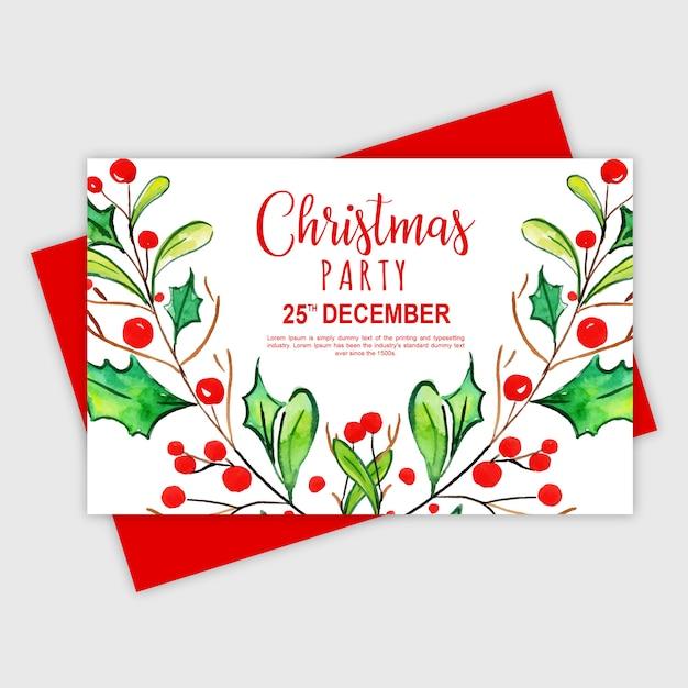 Tarjeta De Invitación Fiesta De Navidad Feliz Acuarela