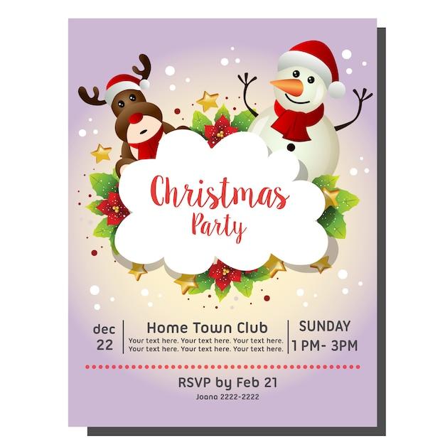 Tarjeta De Invitación De Fiesta De Navidad Con Muñeco De