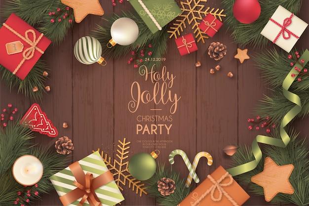 Tarjeta de invitación de fiesta de navidad realista vector gratuito