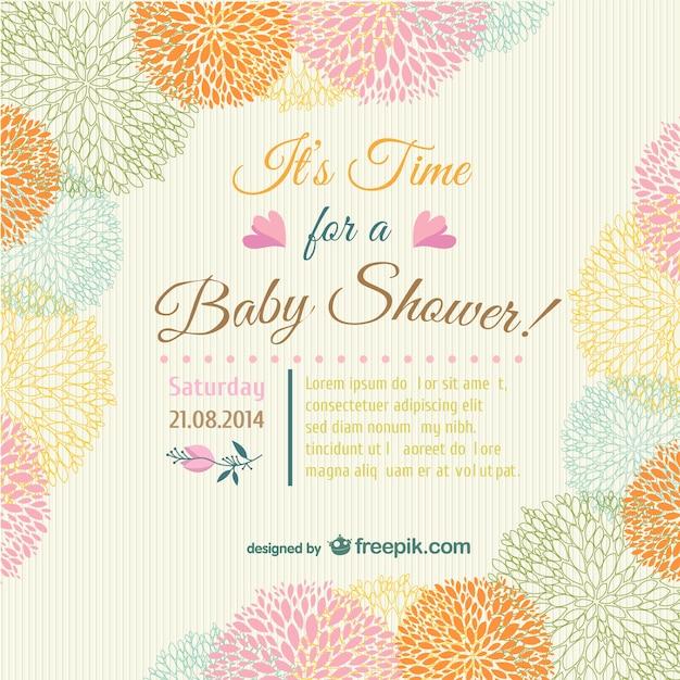 Tarjeta De Invitación Floral Para Bebé Vector Gratis