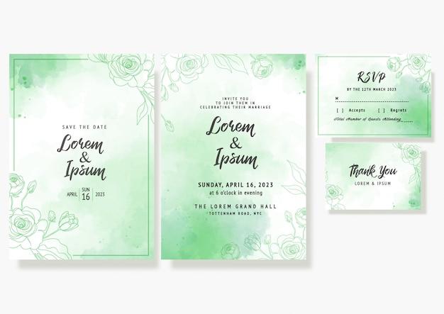 Tarjeta de invitación floral de boda guardar la fecha plantilla decorativa rsvp en acuarelas Vector Premium