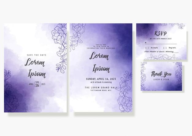Tarjeta de invitación floral de boda púrpura guardar la fecha plantilla decorativa rsvp en acuarelas Vector Premium