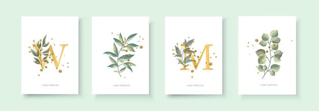 Tarjeta de invitación floral dorada para bodas con sobre el diseño minimalista de fecha con hierbas de hojas verdes tropicales y salpicaduras de oro. estilo decorativo botánico elegante vector acuarela de estilo vector gratuito