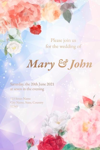Tarjeta de invitación floral de ensueño. vector gratuito