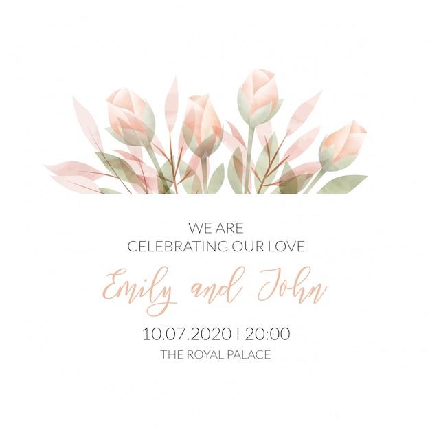 Tarjeta de invitación floral marco acuarela Vector Premium