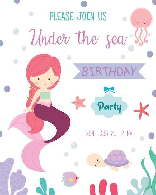 Tarjeta De Invitación Linda De La Fiesta De Cumpleaños Del