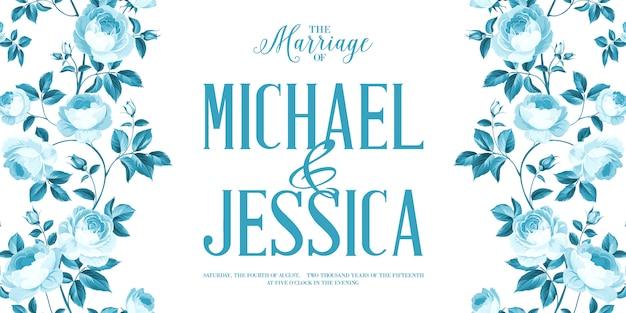 Tarjeta de invitación de matrimonio con signo personalizado y marco de flores sobre fondo blanco. Vector Premium