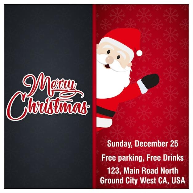 Tarjeta De Invitación De Navidad Con Santa Cláusula Vector
