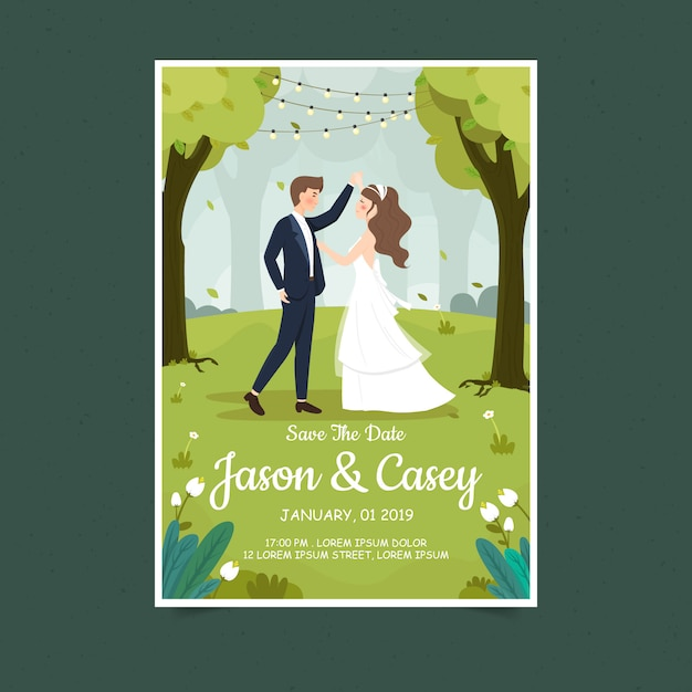 Tarjeta de invitación de pareja de boda de primavera Vector Premium