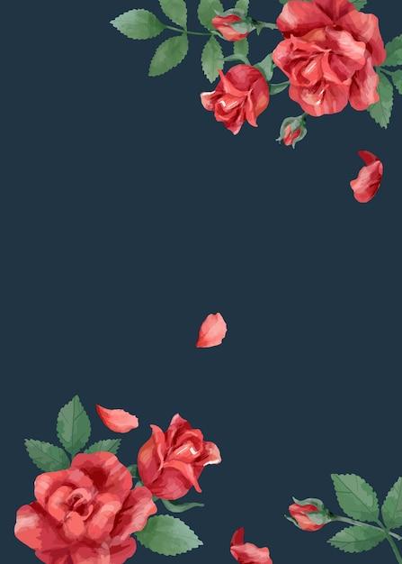 Tarjeta de invitación con rosas y hojas. vector gratuito