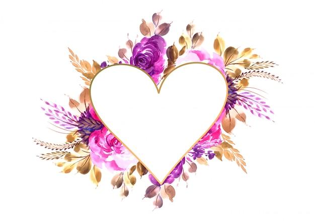 Tarjeta de invitación de san valentín con fondo de flores de colores vector gratuito