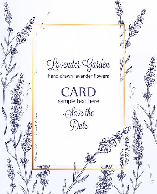 Tarjeta De Lavanda Vintage Line Art Ceremonia De Boda De
