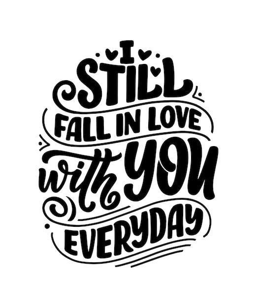 Tarjeta con lema sobre el amor. texto de caligrafía para el día de san valentín. Vector Premium