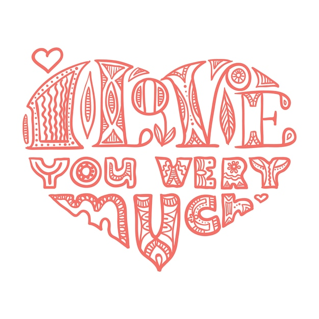 Tarjeta De Letras En Forma De Corazón Para El Día De San Valentín