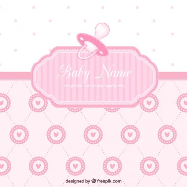 tarjeta linda de la bienvenida del beb233 para chica