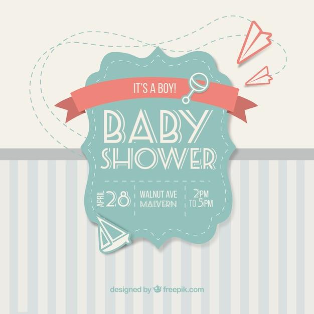 Tarjeta linda de la vendimia para baby shower   Descargar Vectores ...