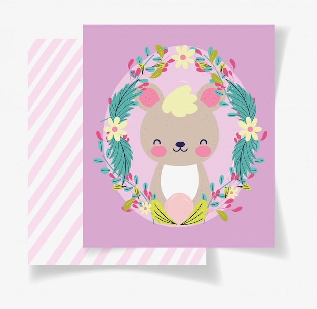 Tarjeta linda de la fiesta de bienvenida al bebé de las flores de la guirnalda del oso Vector Premium