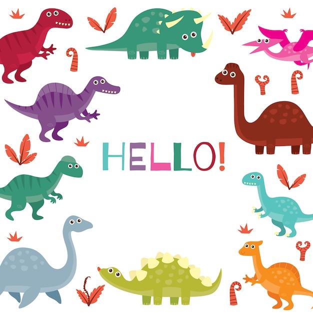 Tarjeta de llegada de bebé para niños en el tema lindo dinosaurio ...