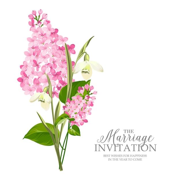 Tarjeta de marco de boda con flores lilas. vector gratuito