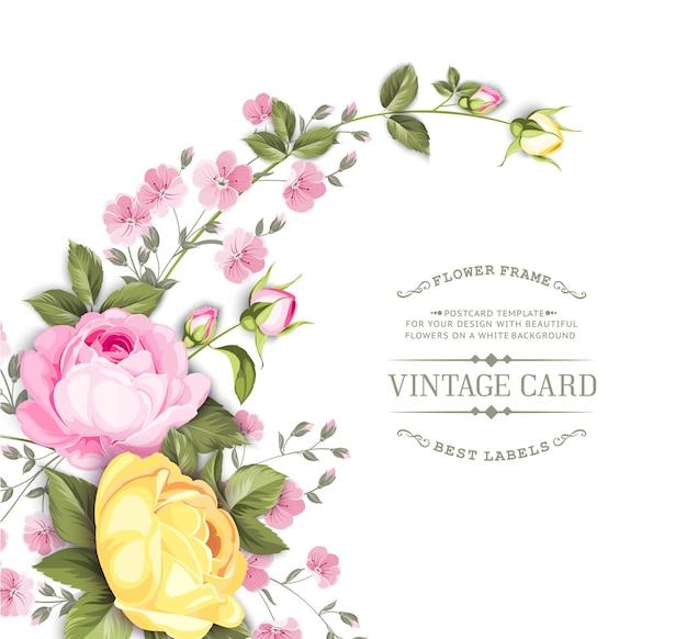 Tarjeta de marco de boda con rosas florecientes. vector gratuito