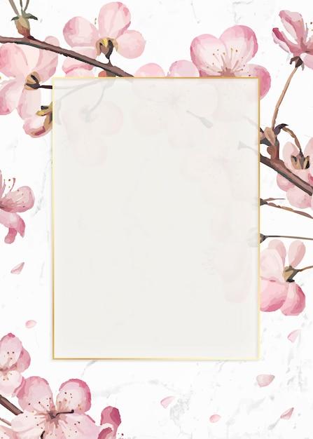 Tarjeta de marco de flor de cerezo vector gratuito