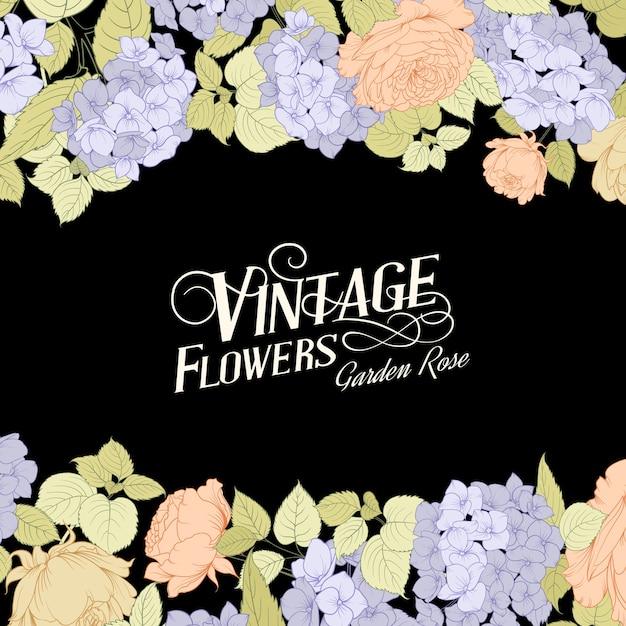 Tarjeta de marco flor rosa y hortensia. vector gratuito