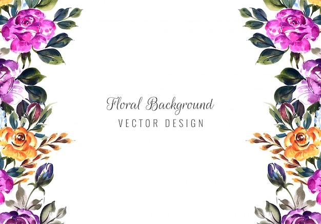 Tarjeta de marco de flores de invitación de boda romántica vector gratuito