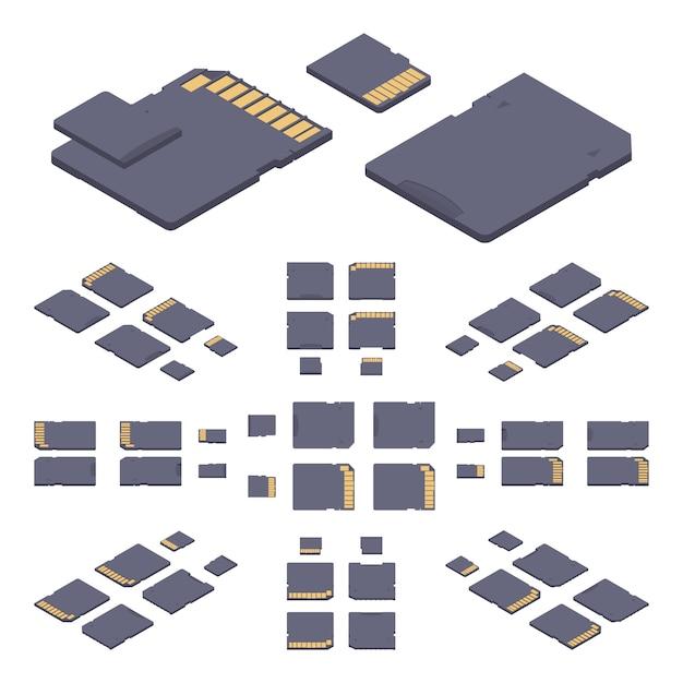 Tarjeta de memoria sd plana isométrica Vector Premium
