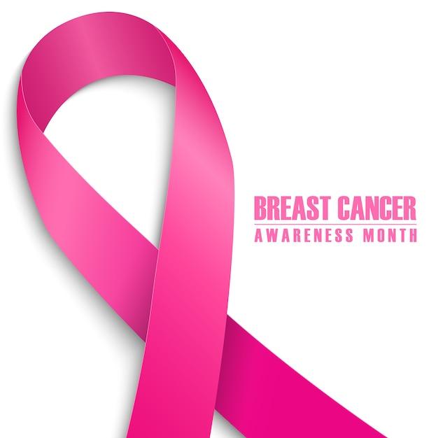 Tarjeta del mes de concientización sobre el cáncer de mama. cinta rosa Vector Premium