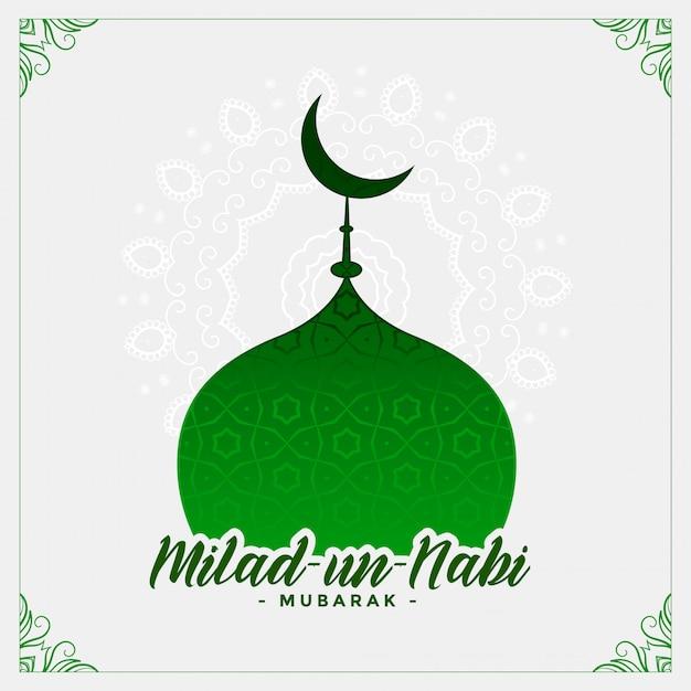 Tarjeta de la mezquita del festival islámico milad un nabi vector gratuito