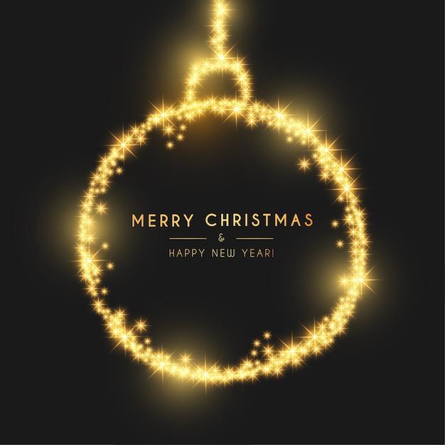 Tarjeta moderna de feliz navidad y feliz año nuevo con bola de luz dorada vector gratuito