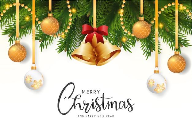 Tarjeta moderna de feliz navidad con fondo elegante vector gratuito