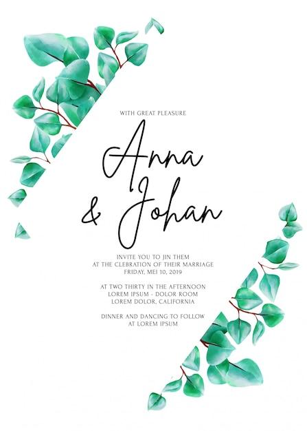 Tarjeta moderna de la invitación de la boda de la hoja del eucalipto del verdor. Vector Premium