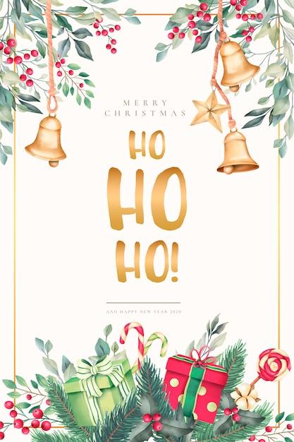 Tarjeta de navidad acuarela con hermosos adornos vector gratuito