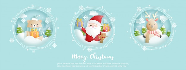 Tarjeta de navidad, banner con santa y amigos. Vector Premium