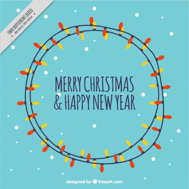 Tarjeta de navidad con bombillas de colores vector gratuito