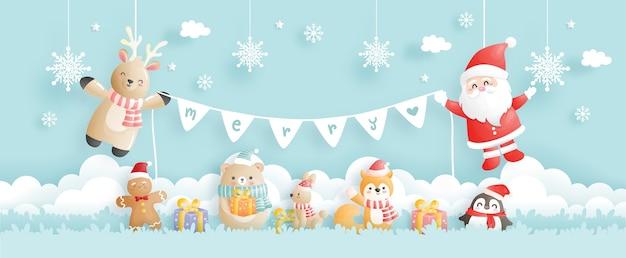 Tarjeta de navidad, celebraciones con santa y renos, escena navideña para banner Vector Premium