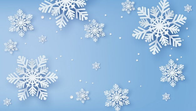 Tarjeta de navidad con copos de nieve de papel cortado Vector Premium