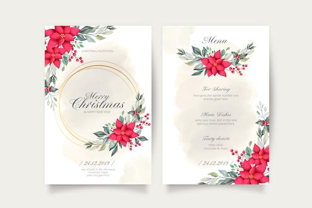 Tarjeta de navidad encantadora y plantilla de menú vector gratuito