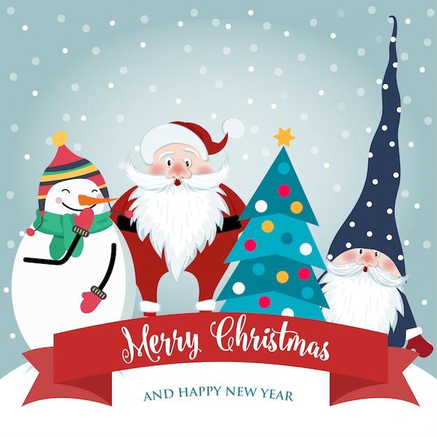 Tarjeta de navidad con lindo santa, gnomo y muñeco de nieve. diseño plano. vector Vector Premium