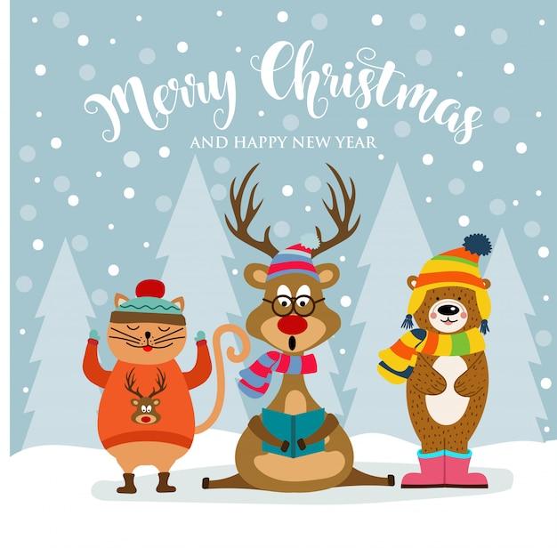 Animales Y Deseos Vestidos Con Tarjeta De Navidad Lindos dCBoxre