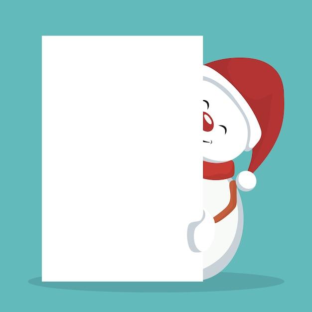 Tarjeta De Navidad Muñeco De Nieve Con Signo Blanco Para Escribir