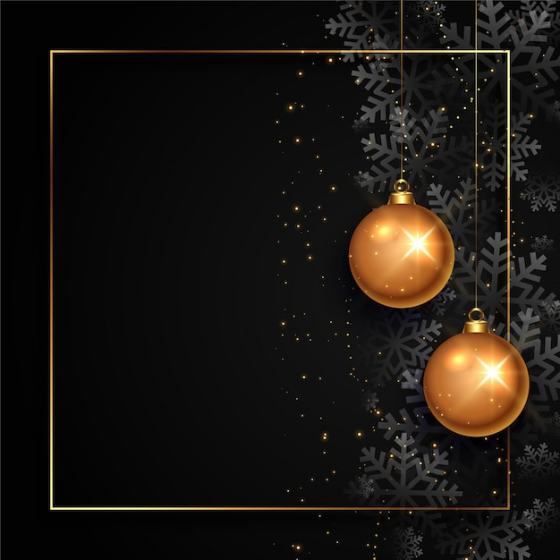 Tarjeta de navidad negra y dorada con espacio de texto vector gratuito