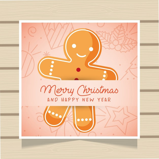 Tarjeta de navidad con pan de jengibre. Vector Premium